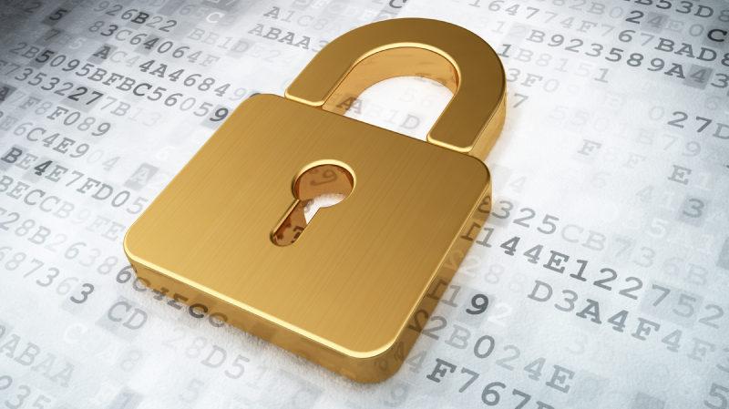 golden closed padlock on digital background, 3d render