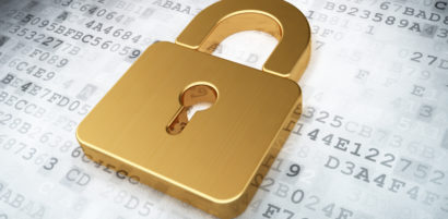 golden closed padlock on digital background, 3d render